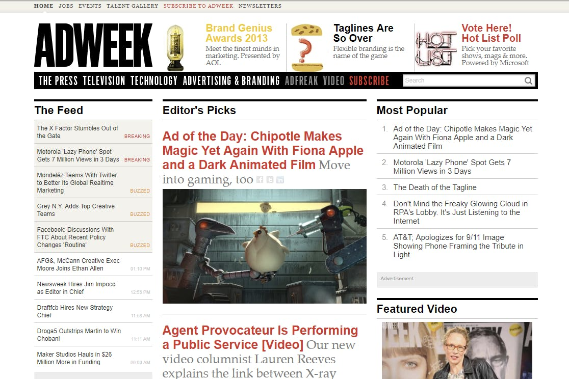 Screenshot of the Adweek.com home page
