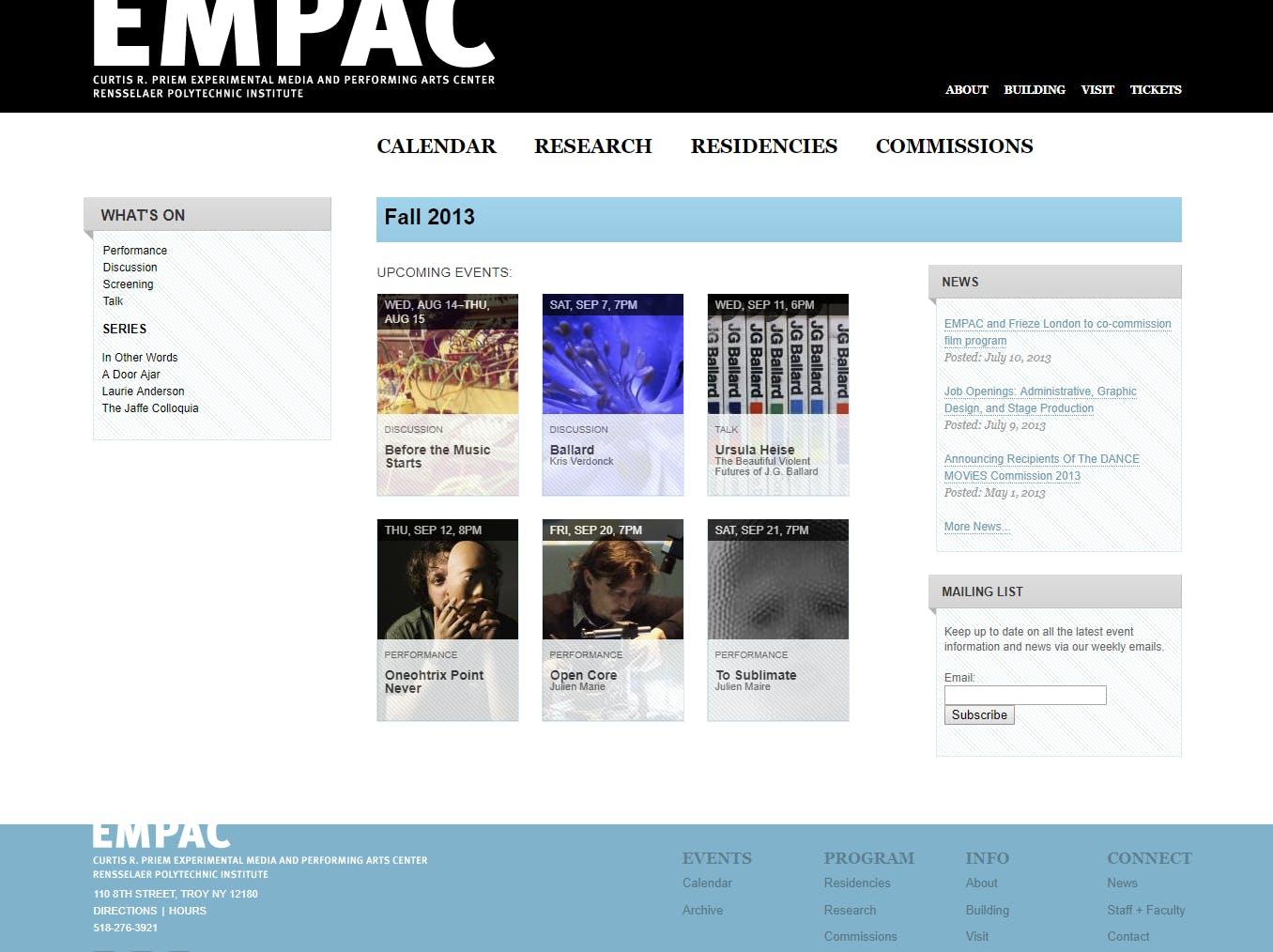 EMPAC website screenshot