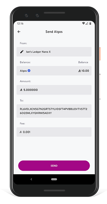 Algorand Wallet - Confirm Transaction and Send