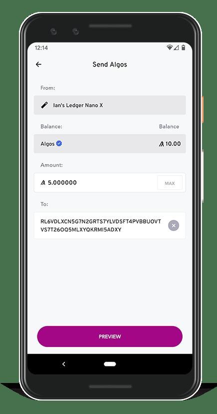 Algorand Wallet - Send Algos Preview