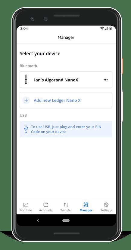 Algorand Ledger Live - select your device