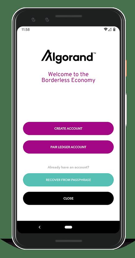 Algorand Wallet - home page