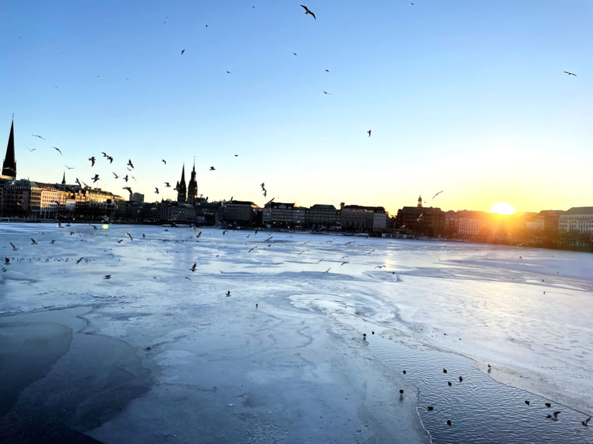 February in Hamburg — walking at the Alster
