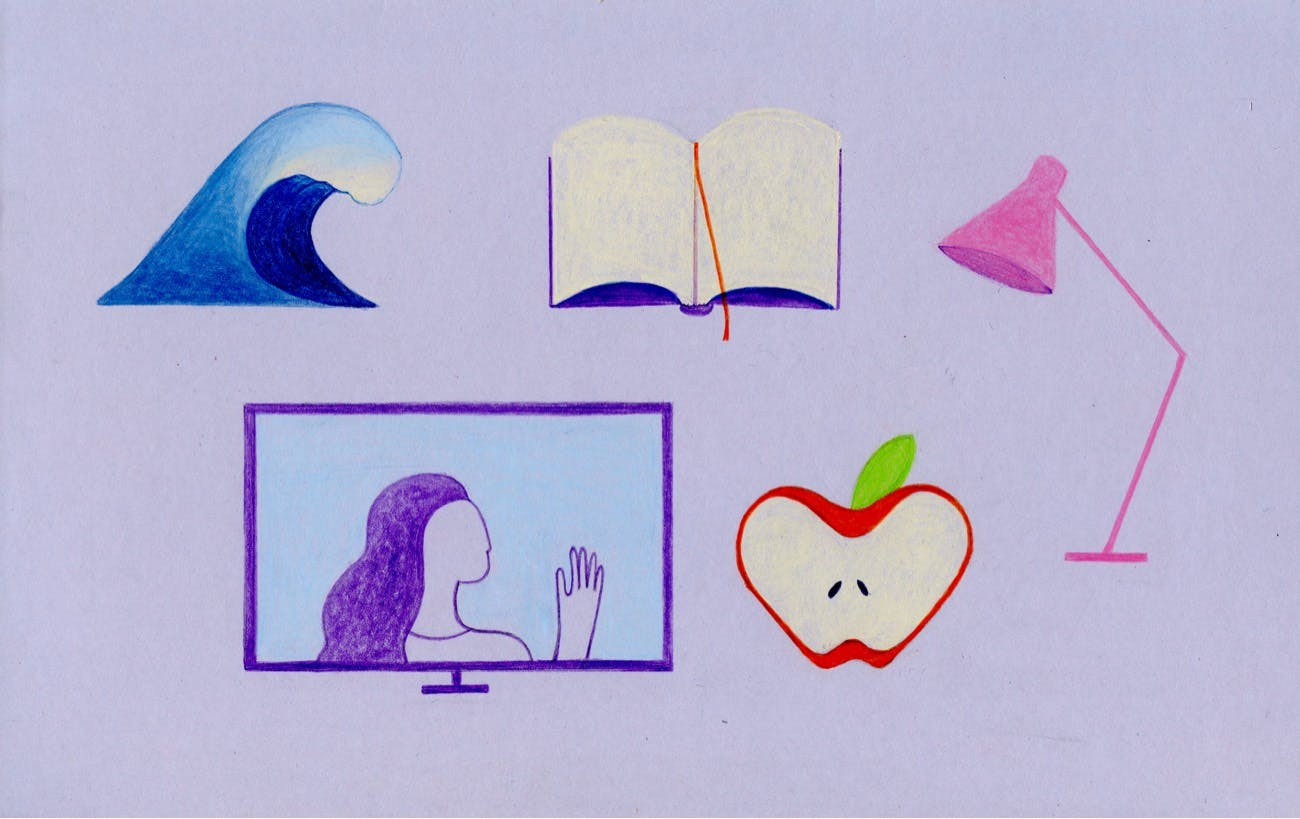 Sketches of a wave, book, lamp, apple, and TV