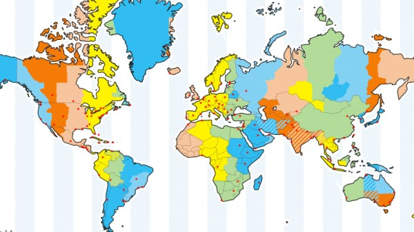 World map with time zones outlined from timeanddate.com