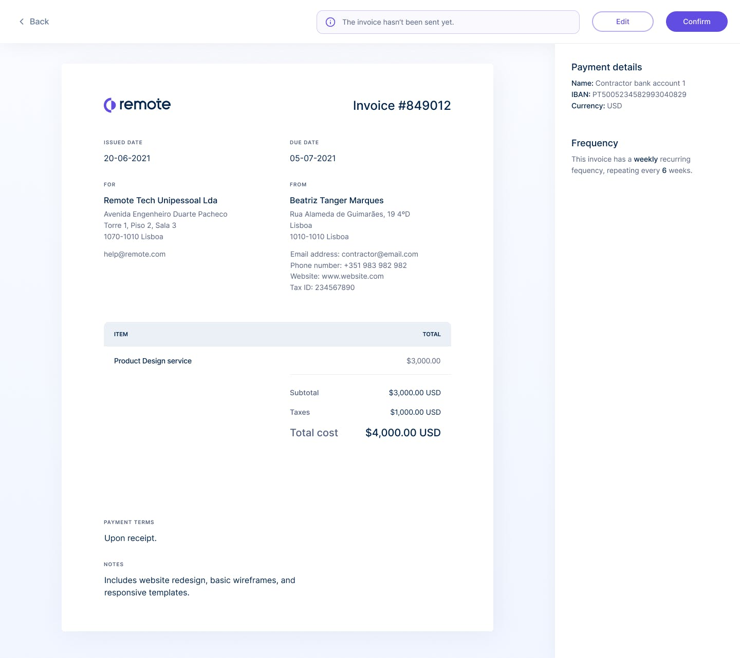 Preview of an in-app created invoice in Remote