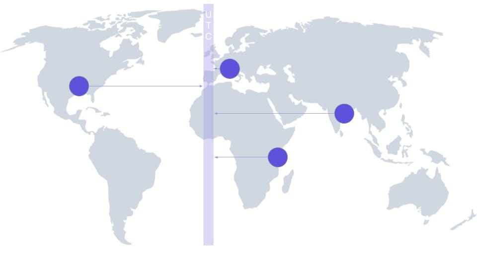 Gray world map with cities using UTC