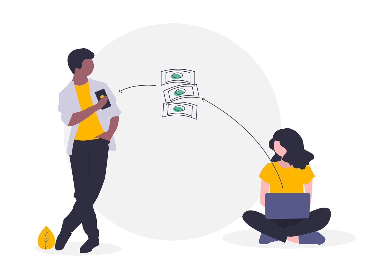 A standing man and a woman on a laptop exchange money