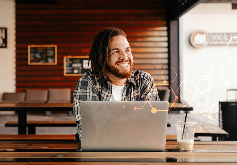 Happy man working remotely