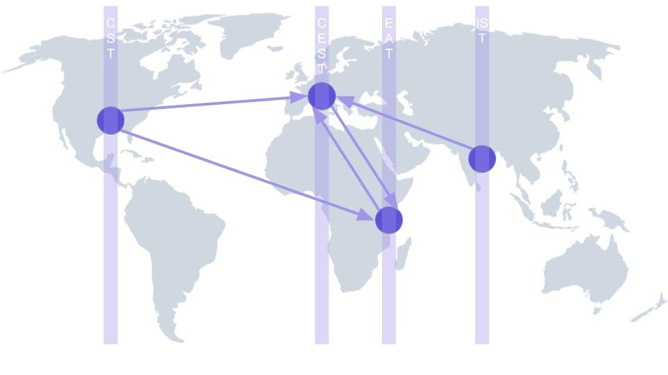 Gray world map with cities not using UTC