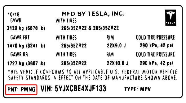 """Lokalisera färgkoden på en Tesla. Se """"PNT"""" på din dekal"""