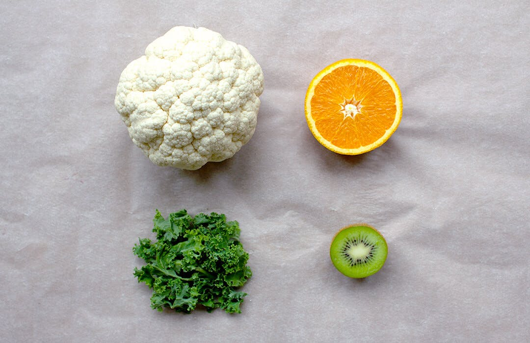 cauliflower kale kiwi orange