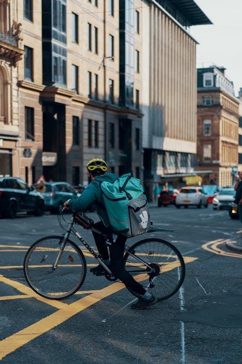 deliveroo cyclist on road
