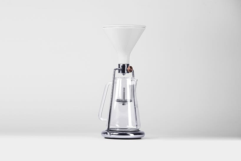 white digitial coffee pourover
