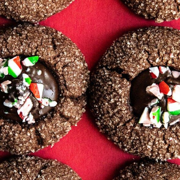 Vegan Chocolate Thumbprint Cookies with vegan chocolate ganache