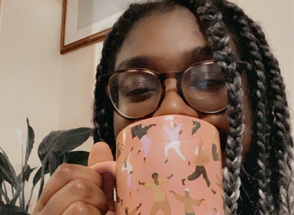 toni drinking tea