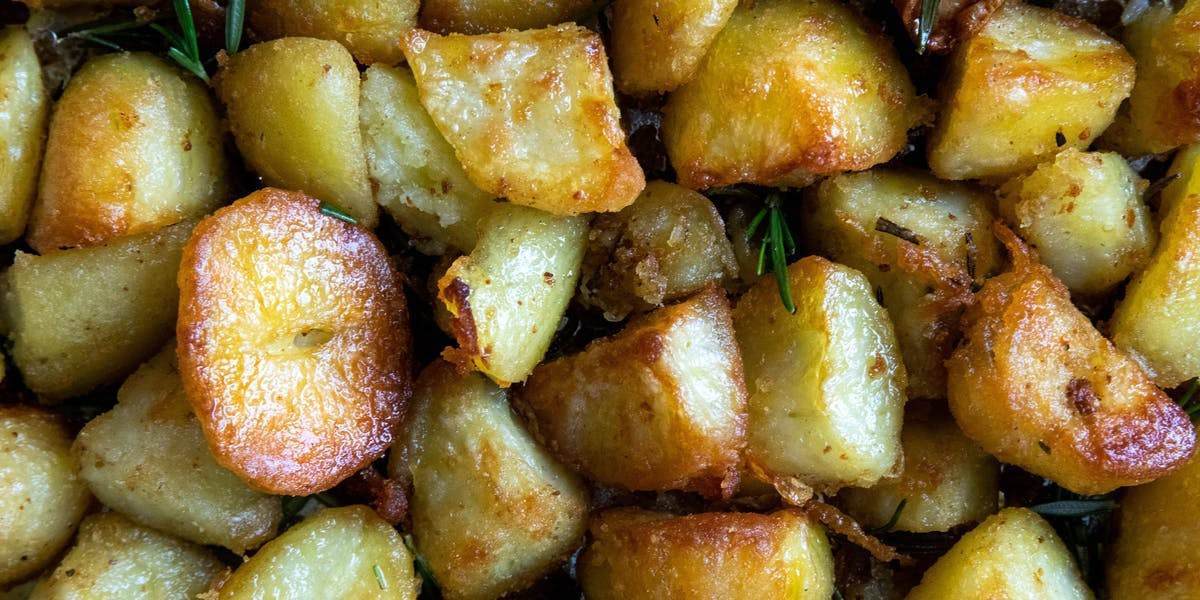 crispy roast potatoes and rosemary