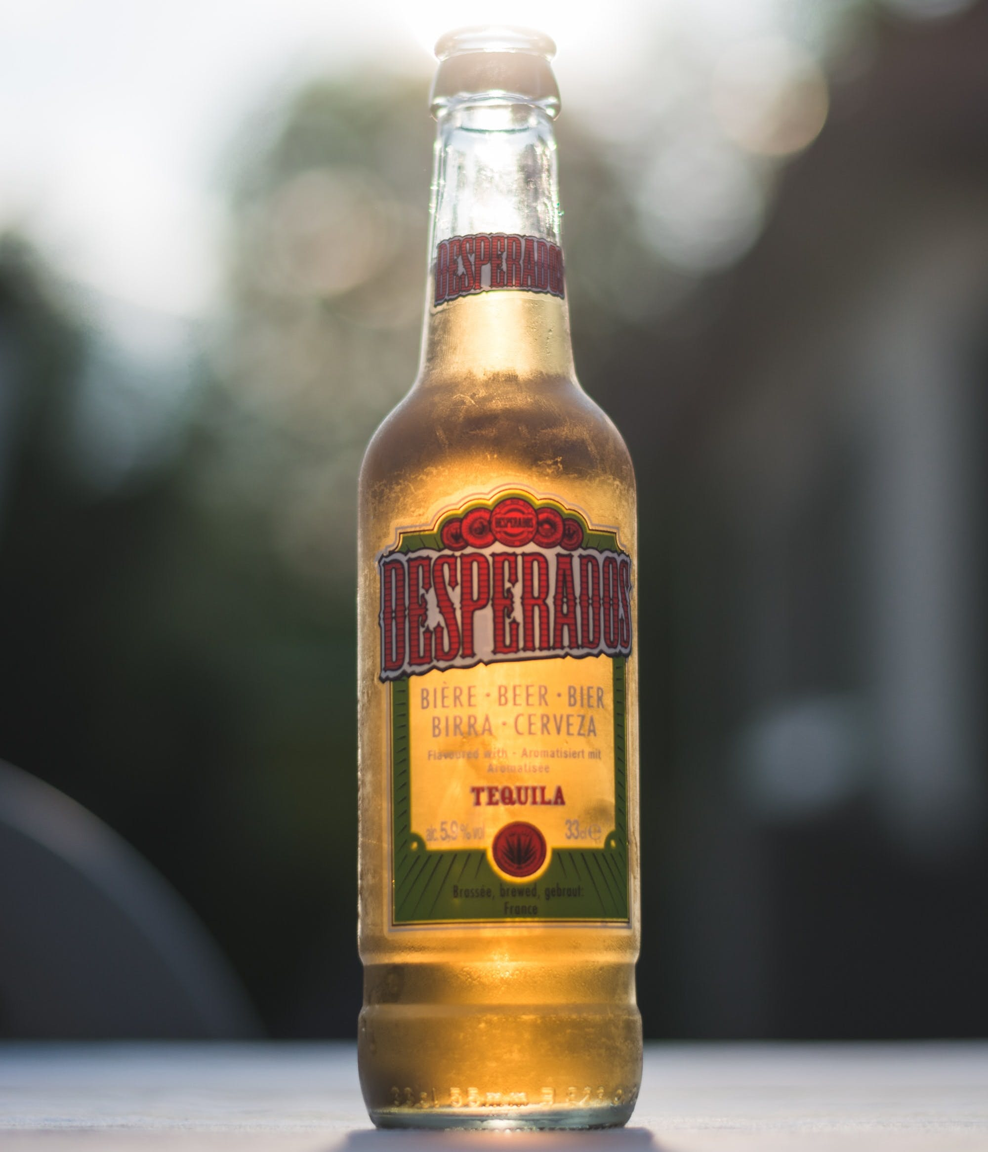 Bottle of Desperados on table