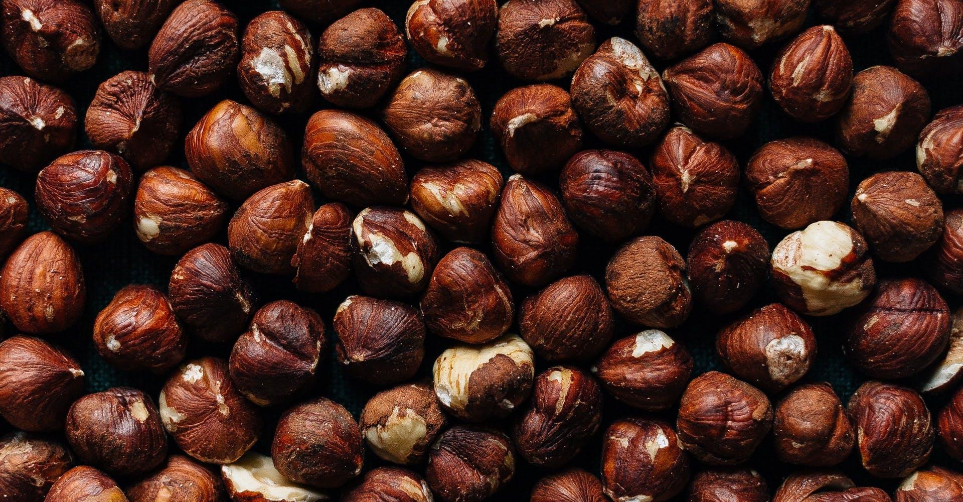 macro image of hazelnuts