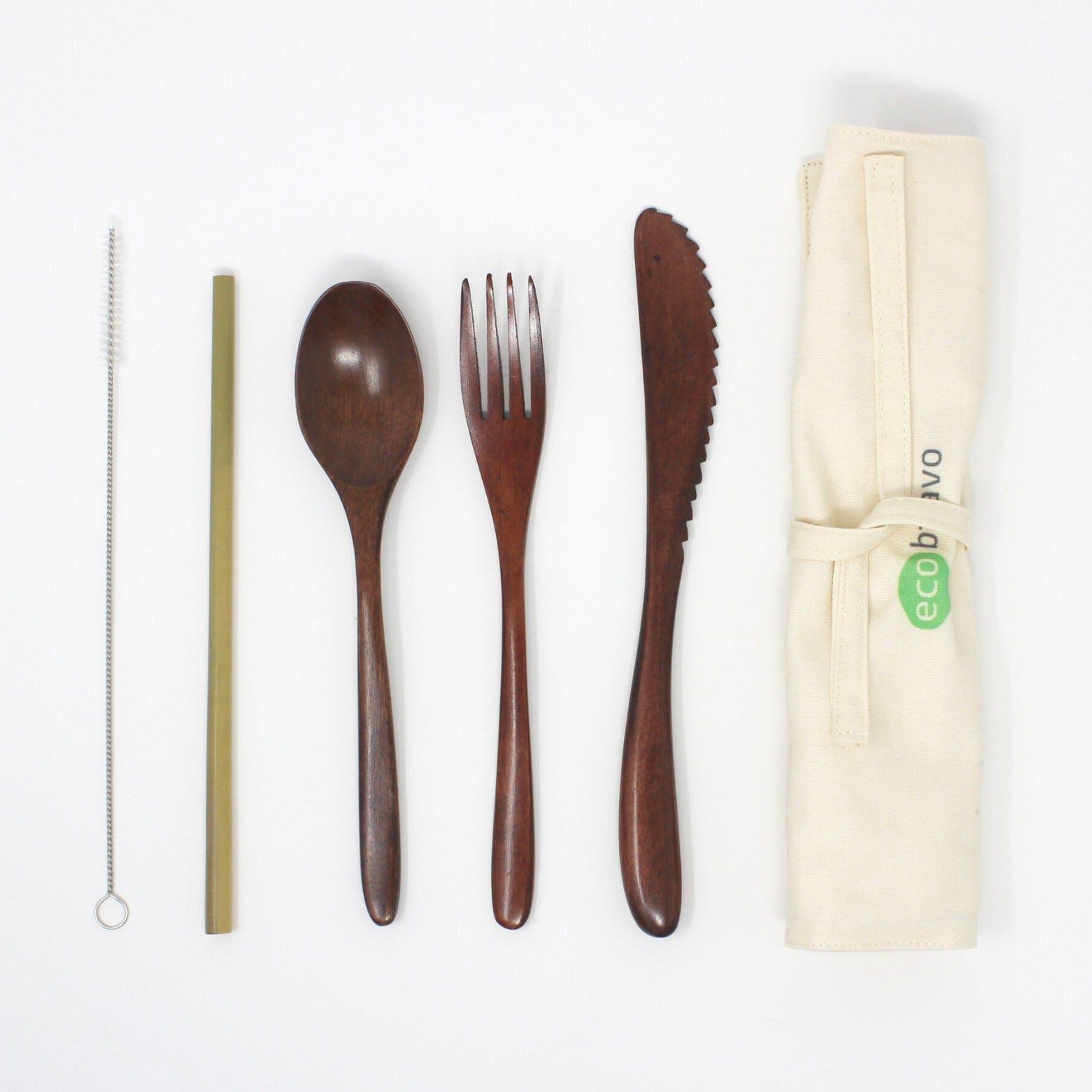 dark bamboo cutlery set