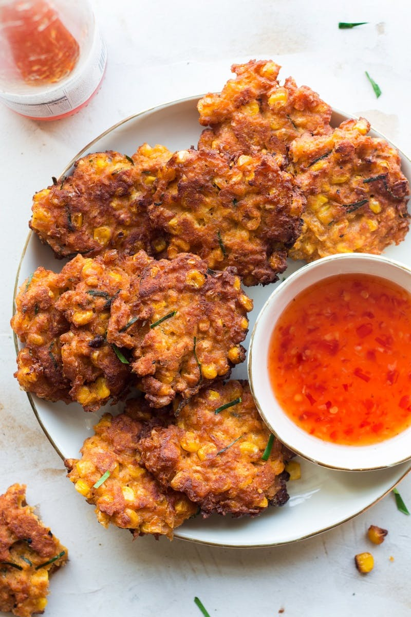 fritters and a dipping sauce