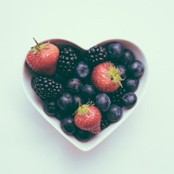 fruit in heart shaped bowl
