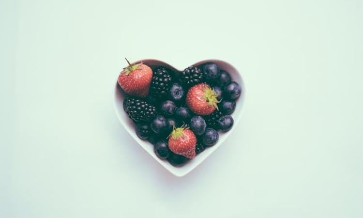 fruit in heart shaped bowl
