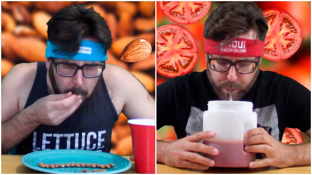 man speed eating in a headband