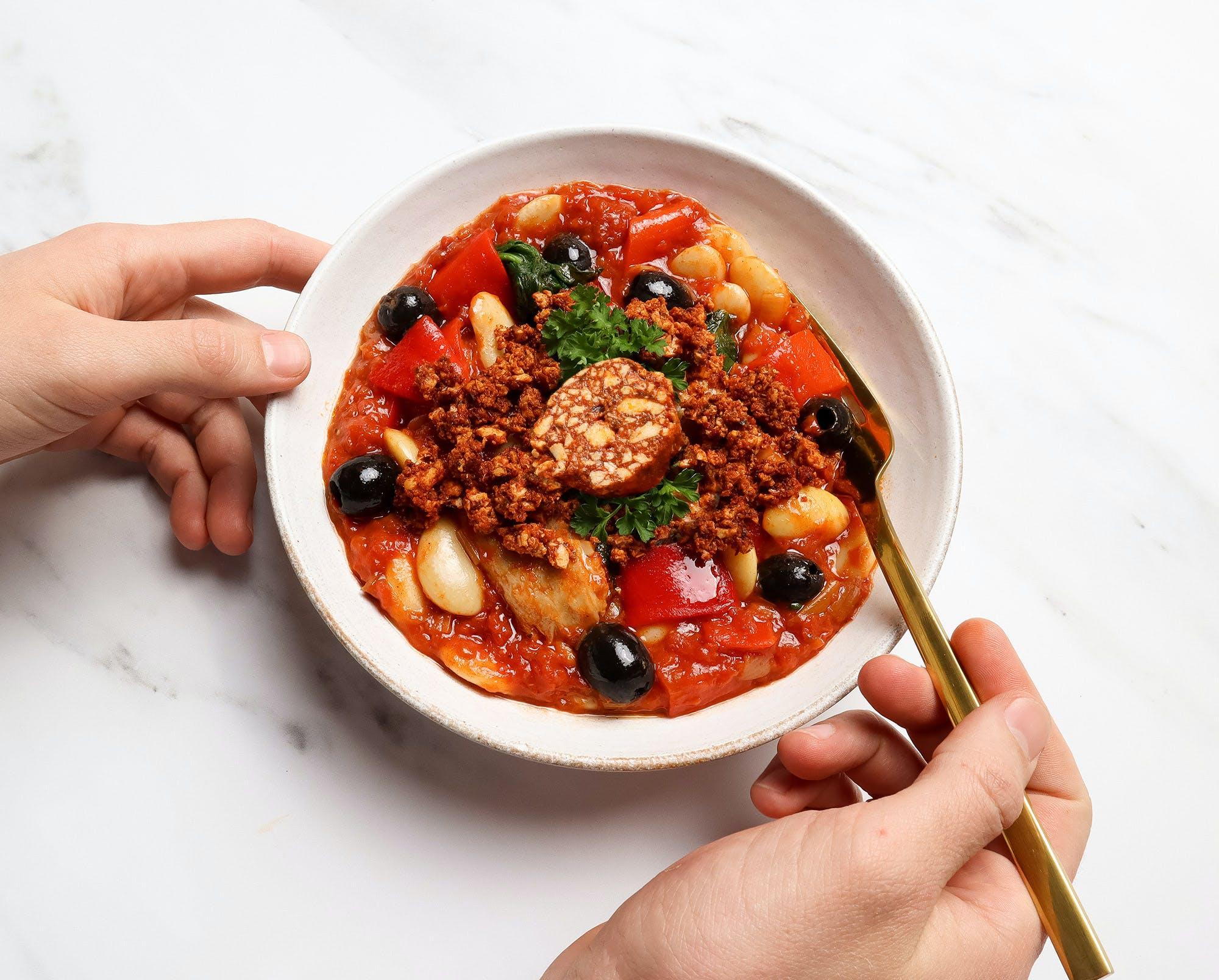 allplants smoky chicken and chorizo stew