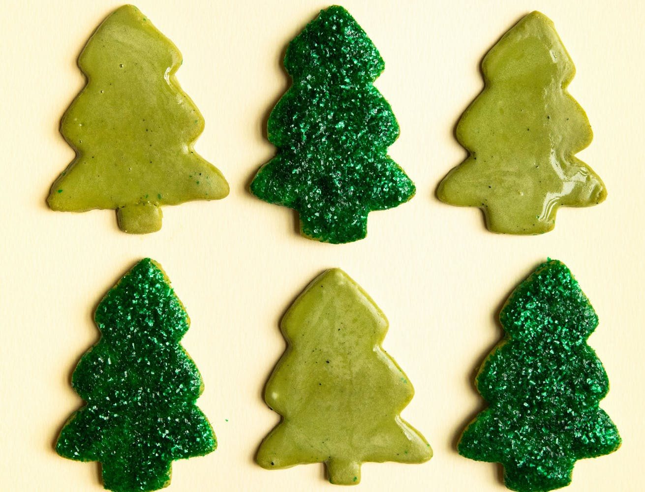 matcha christmas tree cookies