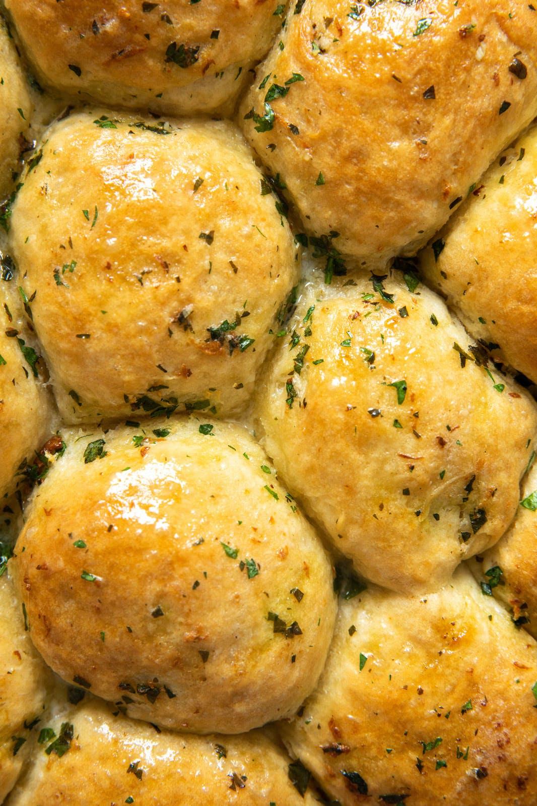 close shot of vegan garlic bread