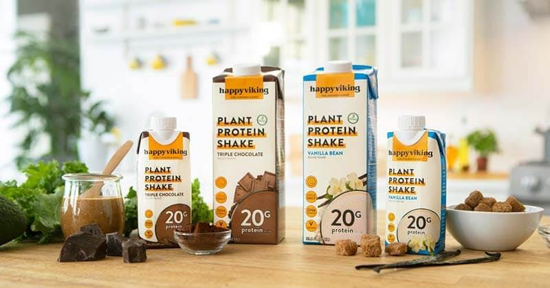 vegan protein shakes lined up