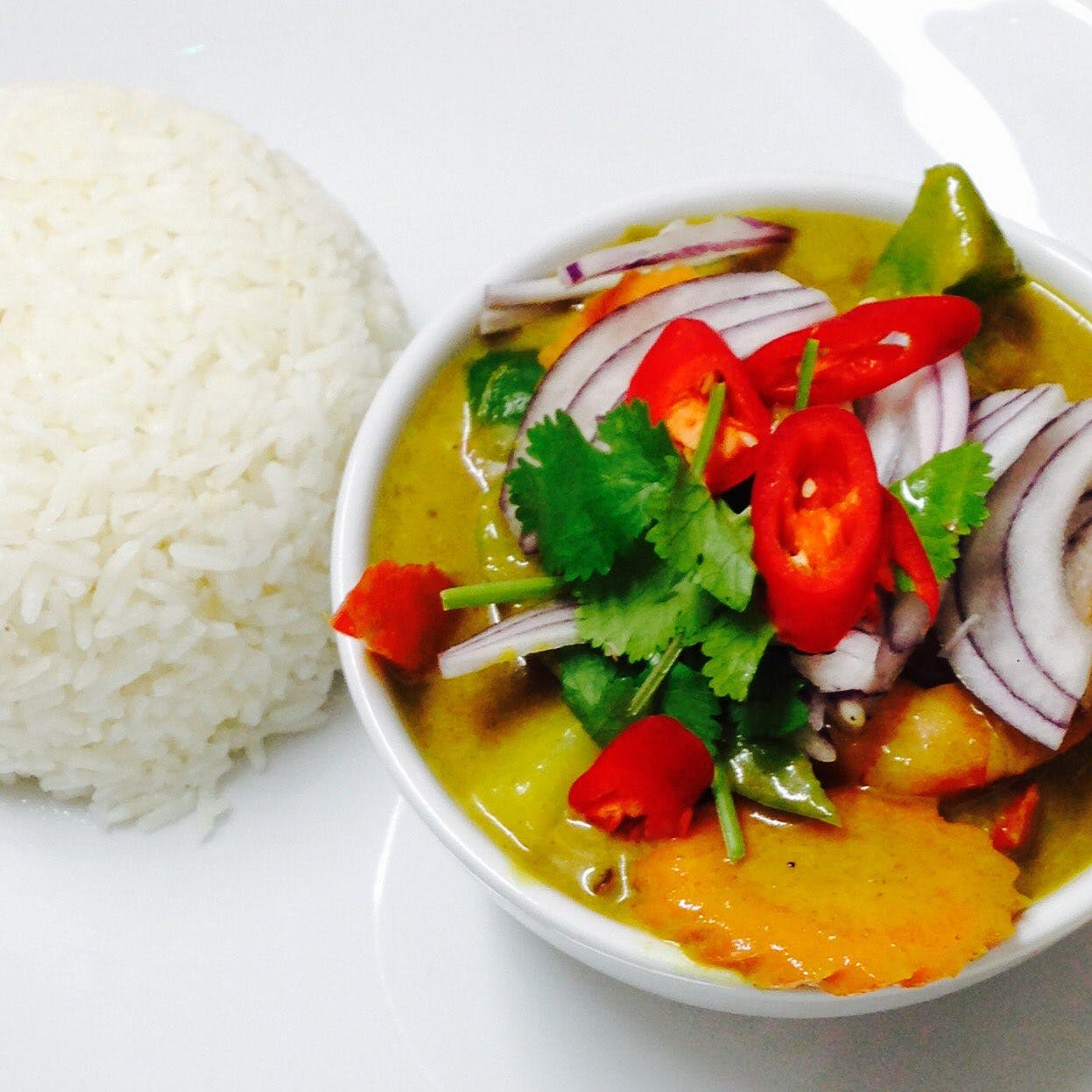 Curry in bowl with rice