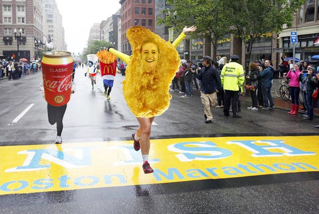 Nugget with legs and face photoshopped on running a marathon
