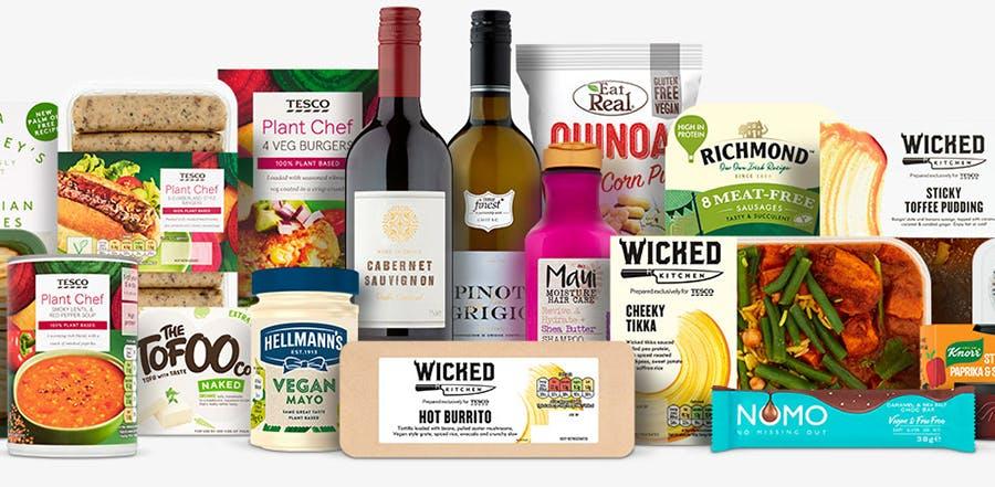 vegan products at Tesco