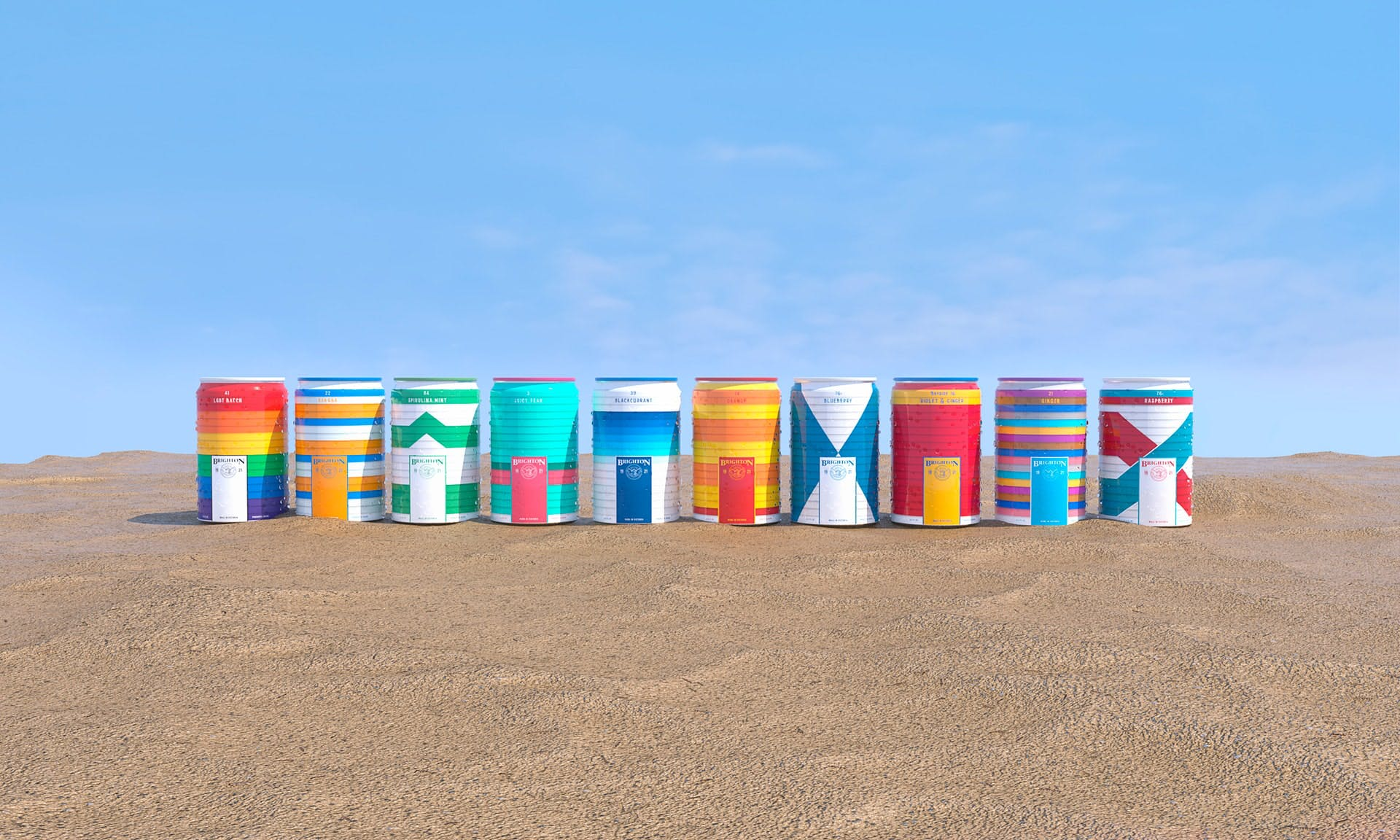 colourful soda cans lined up