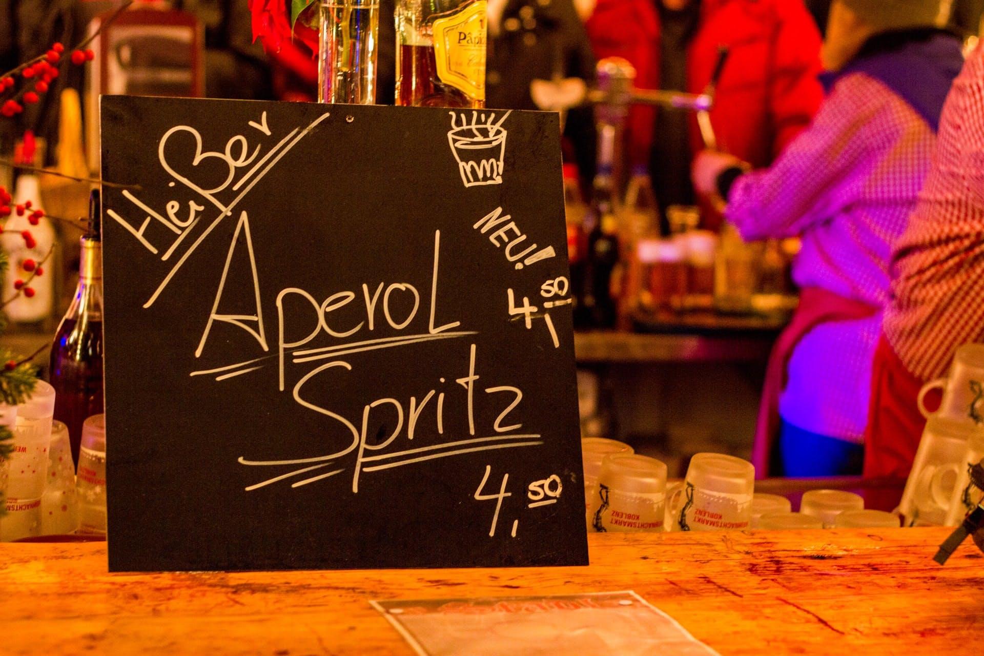 bar with an aperol spritz board