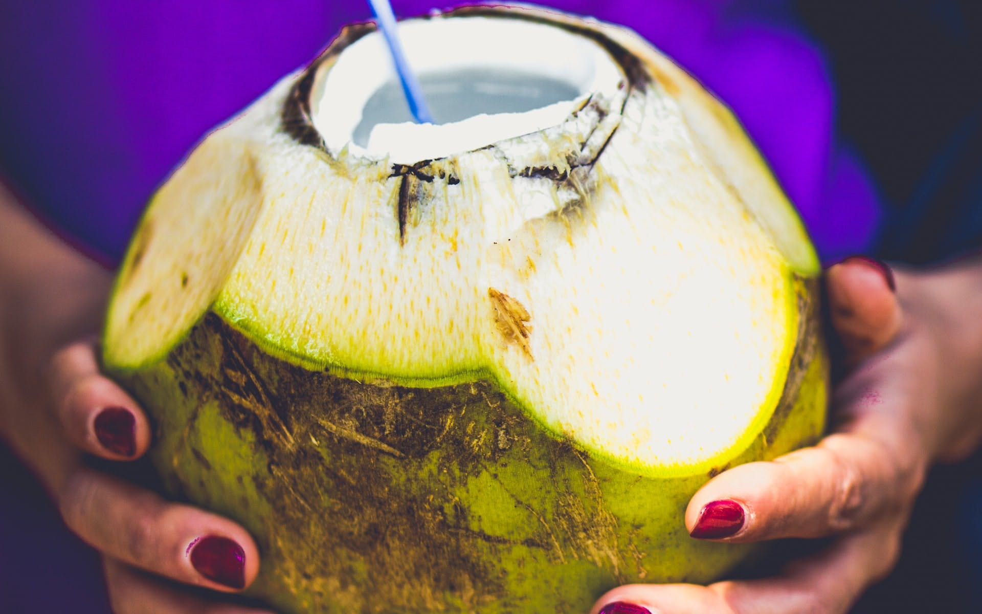 fresh coconut water and straw