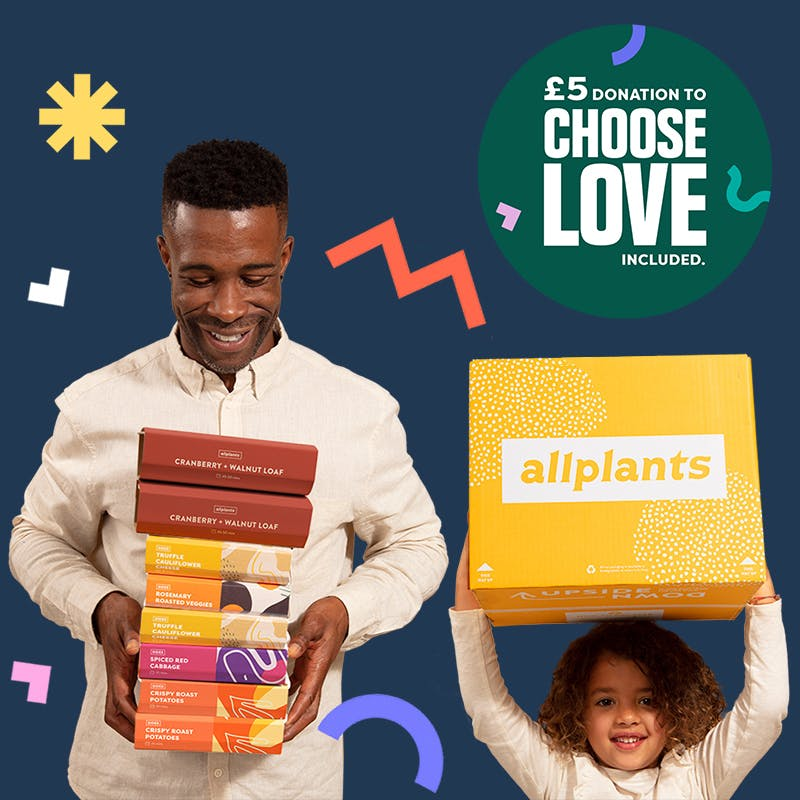 Family with allplants feast box and choose love badge