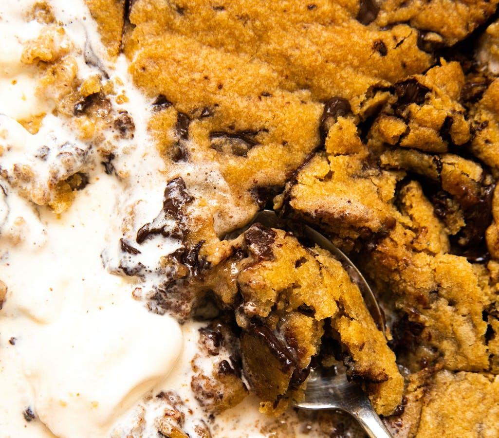 giant vegan cookie and ice cream macro image