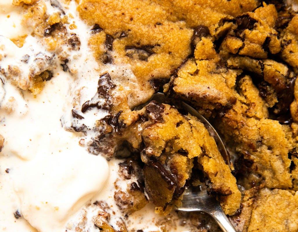 giant vegan cookie with ice cream on
