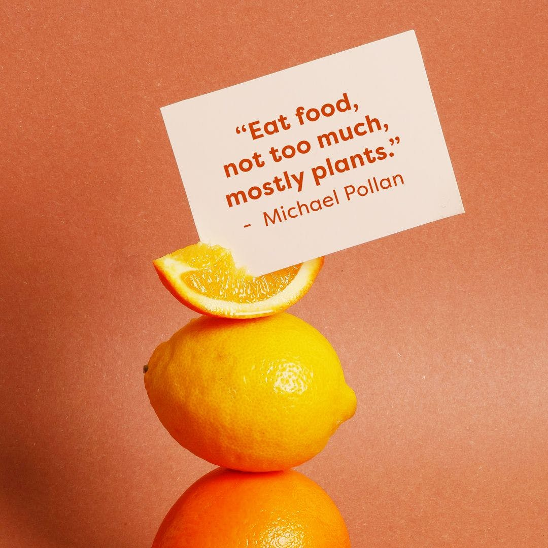 """lemons with a quote in that says """"eat food, not too much, mostly plants"""" – Michael Pollan"""