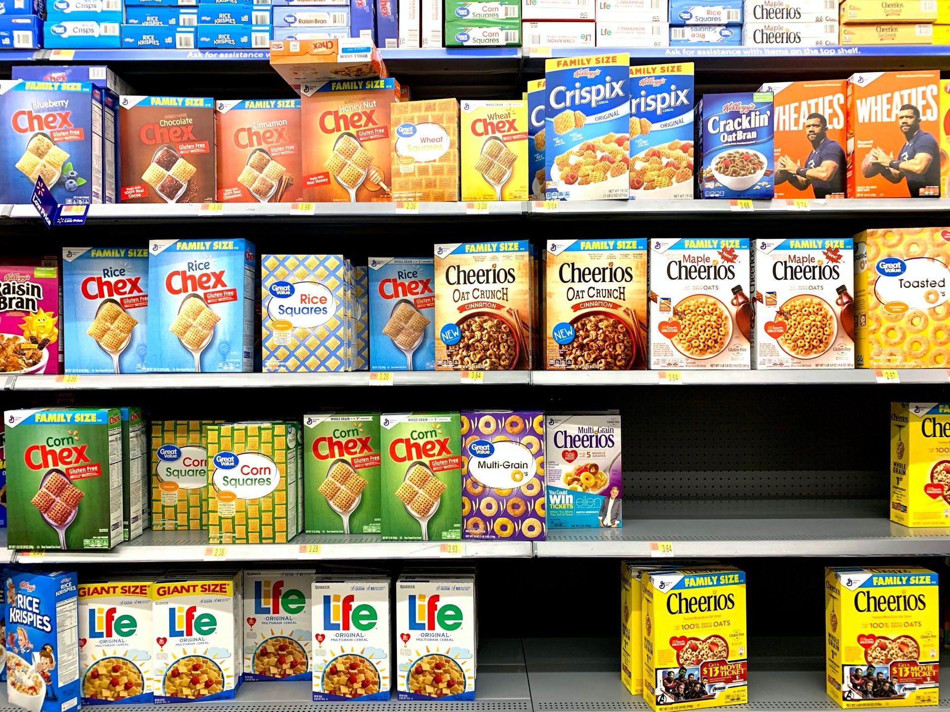cereals in supermarket