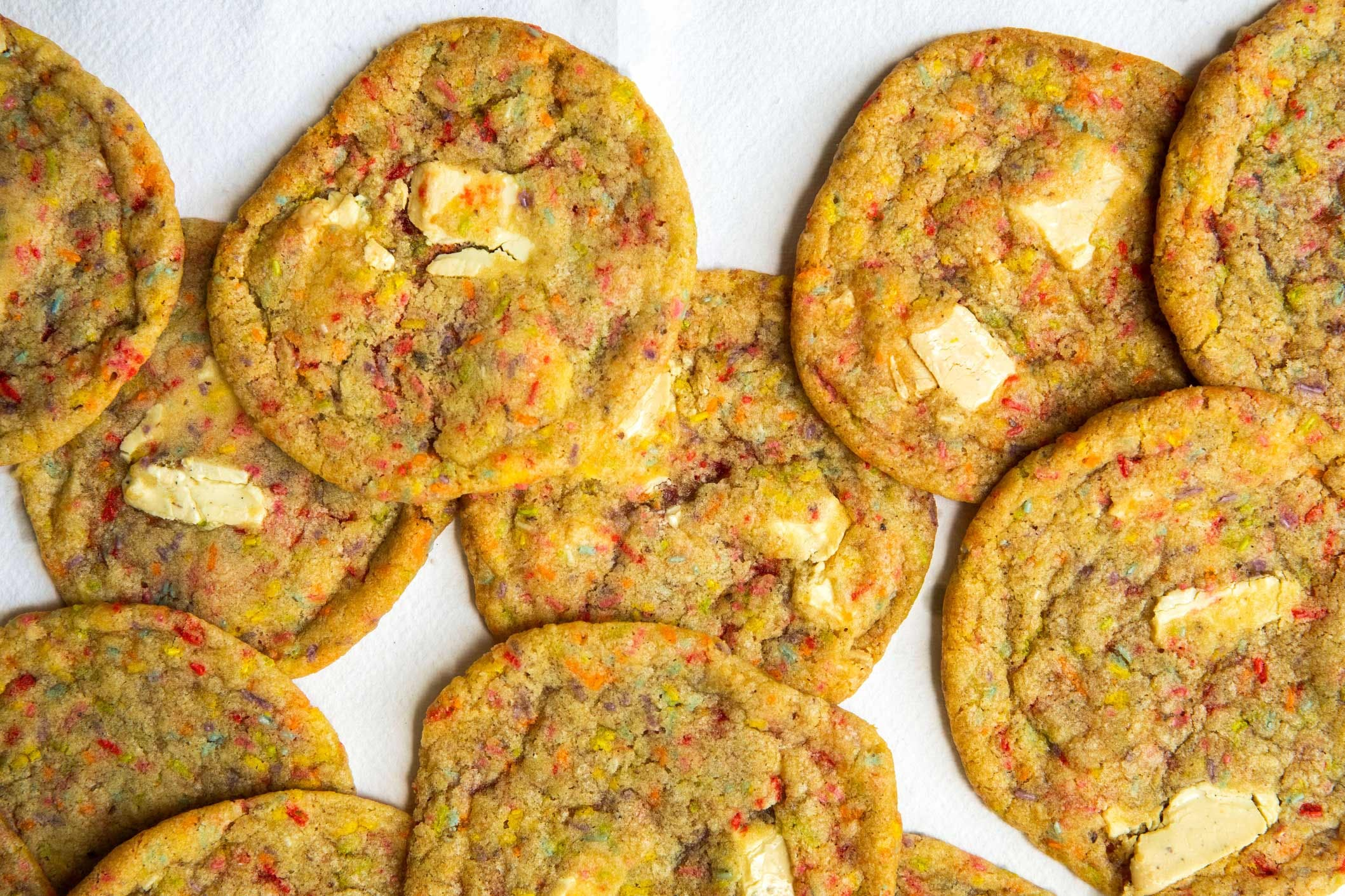 birthday cake cookies on white background