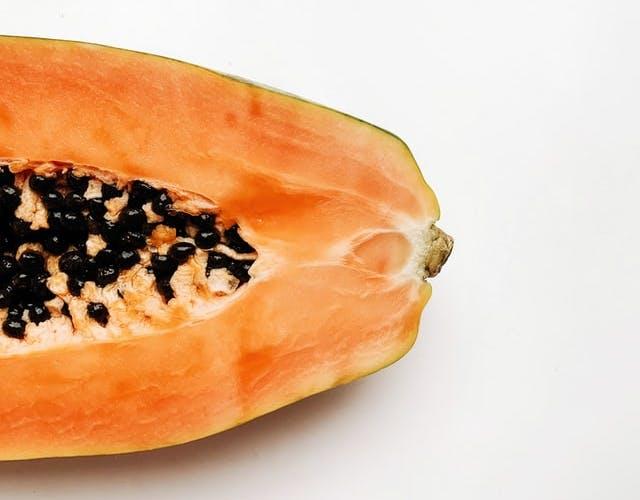 a close up papaya