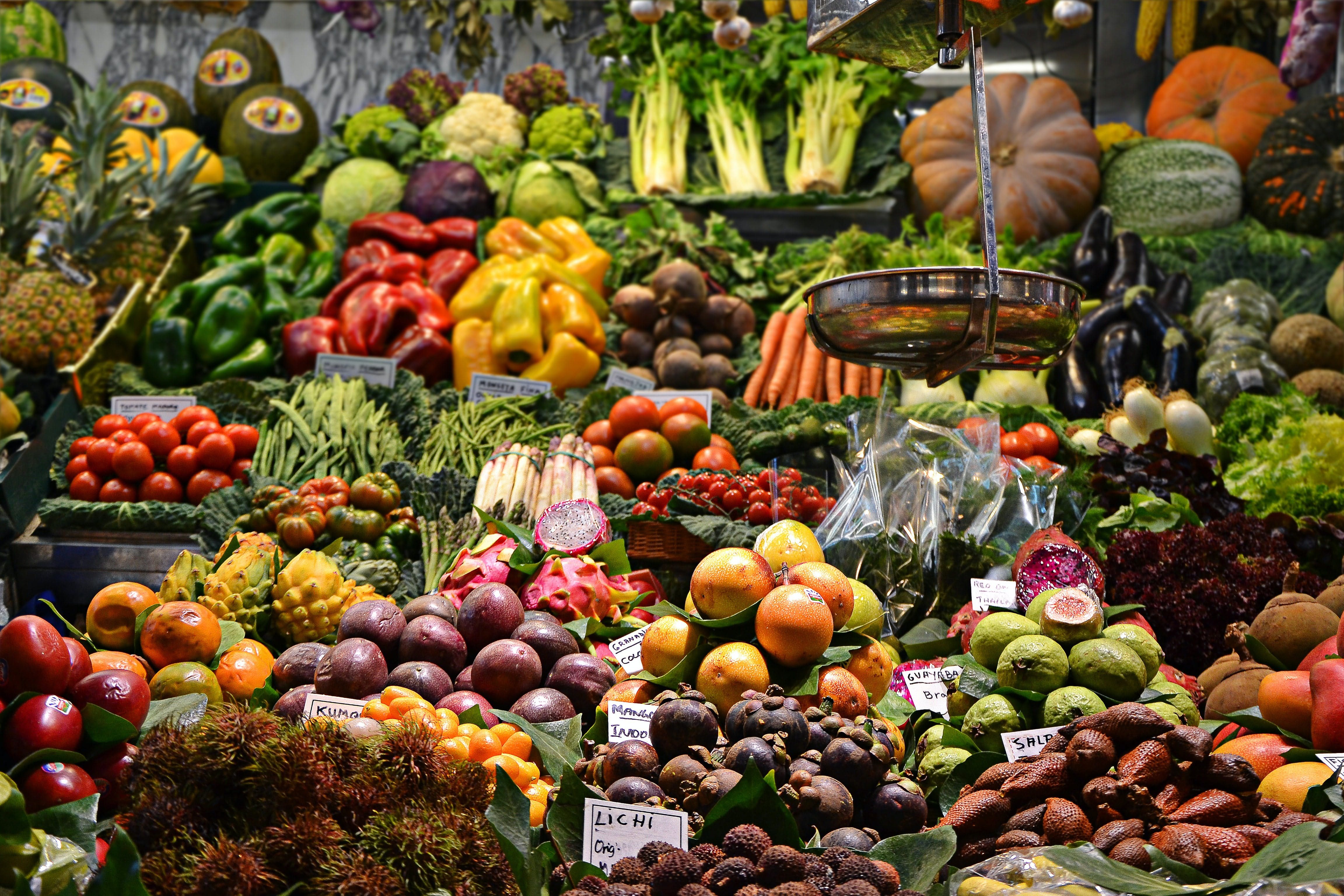 a vegetable market stall