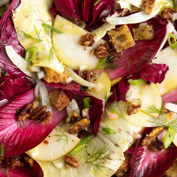 Radicchio Salad w/ Fennel, Pear, Croutons and Caramelised Pecans  image