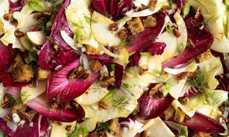 Radicchio Salad w/ Fennel, Pear, Croutons and Caramelised Pecans  image
