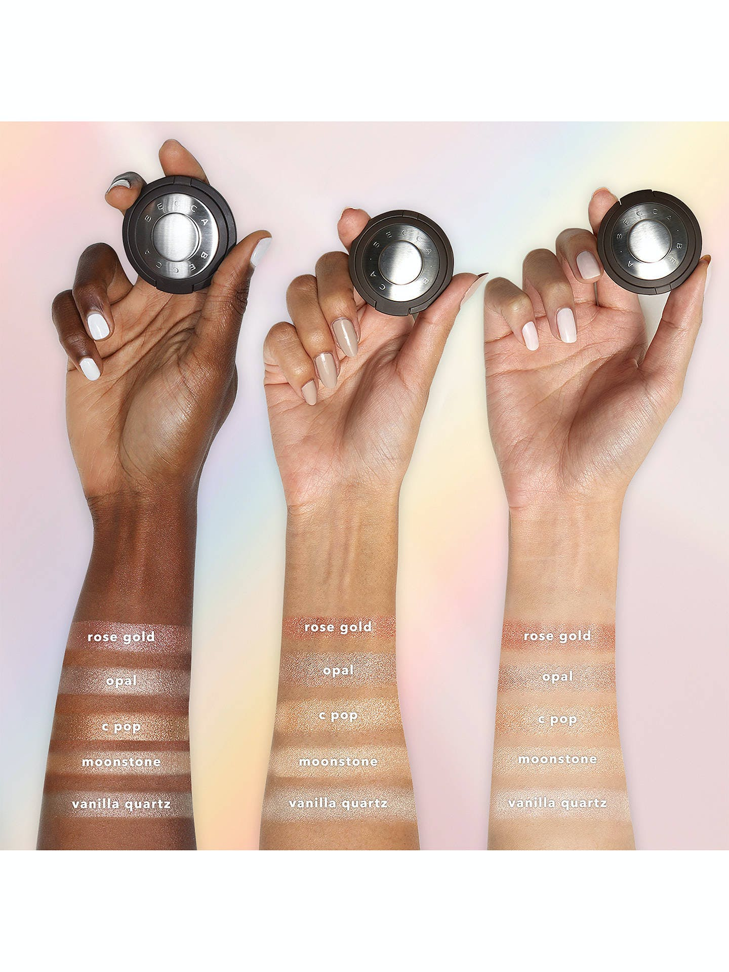 Becca highlighter swatches on three different arms