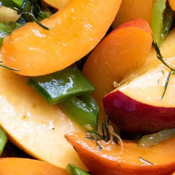 Savoury peach salad